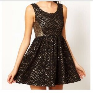 Black and Gold Sparkly New Years Dress